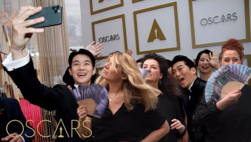 """The cast of """"Parasite"""" pose for a selfie on the red carpet during the Oscars arrivals at the 92nd Academy Awards in Hollywood, Los Angeles, California, U.S., February 9, 2020. REUTERS/Mike Blake REFILE - CORRECTING FILM TITLE"""